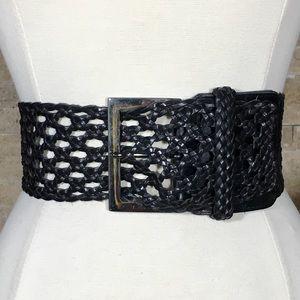 Sandy Duftler Belt S Leather Wide Black Braided